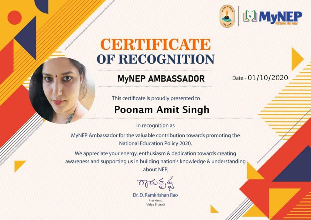 Certificate of Recognition for Poonam Amit Singh